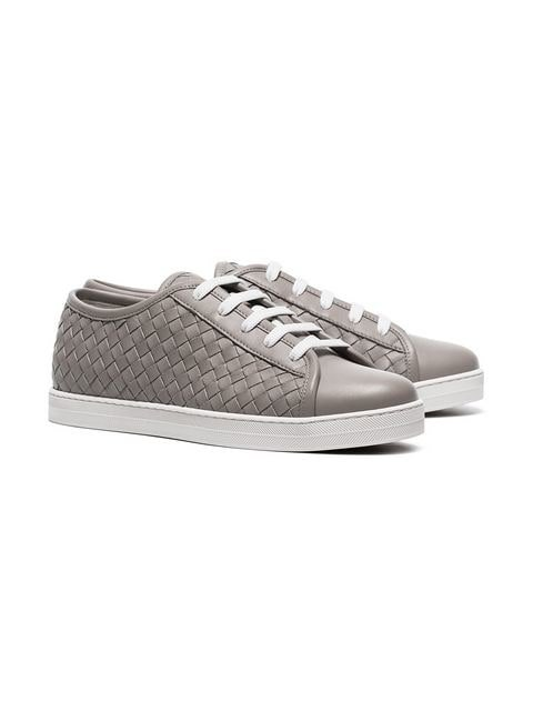 Bottega Veneta grey intrecciato-woven leather sneakers