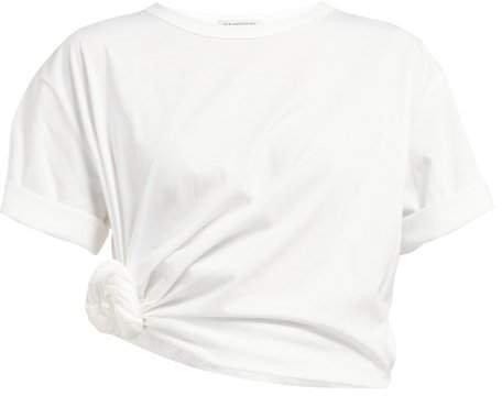 Oversized Side Knot Cotton Jersey T Shirt - Womens - White