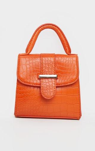 Orange Croc One Handle Mini Grab Bag - Mini Bags - Bags - Accessories | PrettyLittleThing