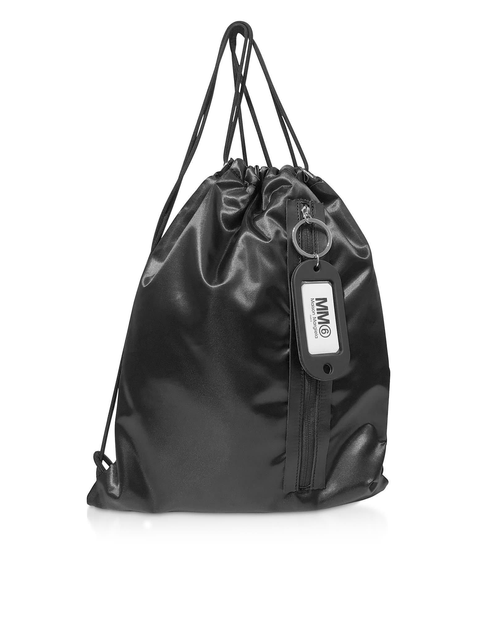 Mm6 Maison Martin Margiela Black Drawstring Nylon Backpack
