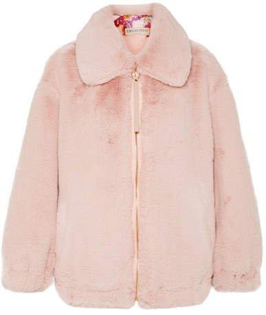 Oversized Faux Fur Jacket - Pink