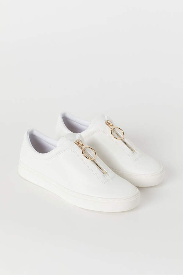 Sneakers with Zip - White