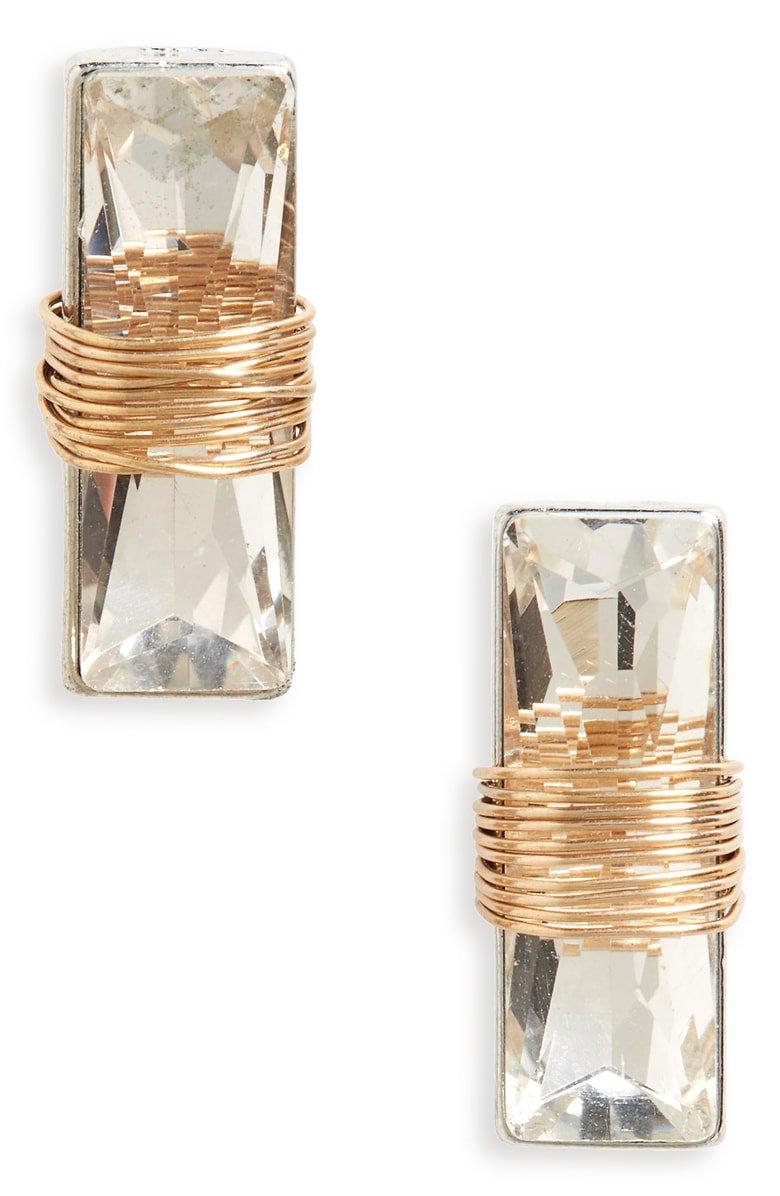 BP. Wire Wrap Crystal Stud Earrings | Nordstrom