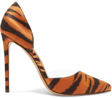 Angelina Tiger-print Satin And Pvc Pumps - Leopard print