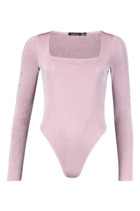 Textured Slinky Square Neck Bodysuit | Boohoo