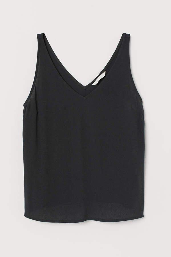 Sleeveless V-neck Top - Black