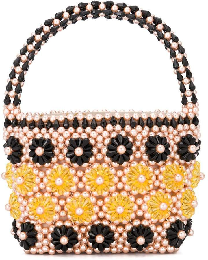 beaded floral tote