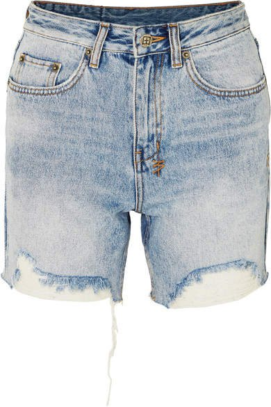 Racer Distressed Denim Shorts - Light denim