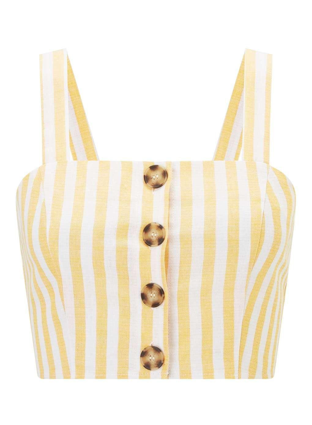 PETITE Yellow Striped Button Camisole Top - Holiday Shop - Clothing - Miss Selfridge
