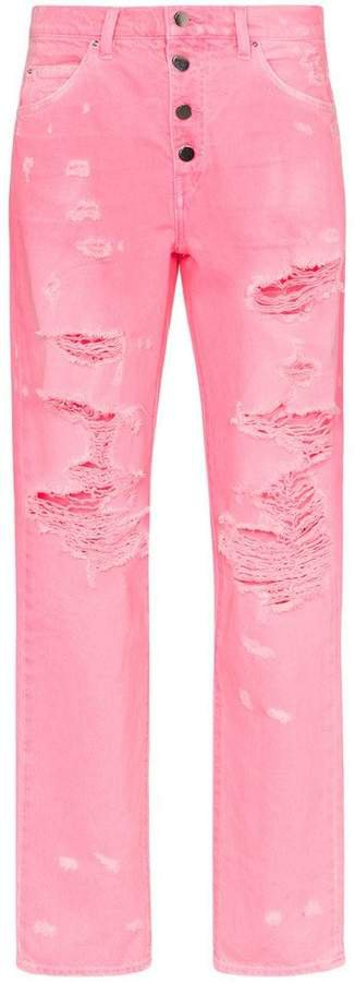 high-waisted button down straight leg jeans