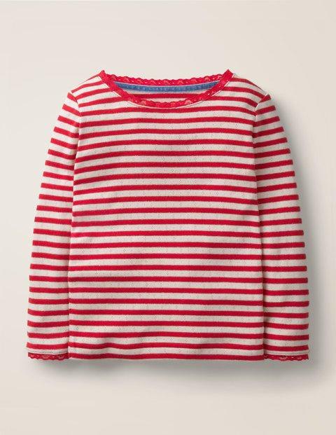 Sparkly Pointelle T-Shirt - Rockabilly Red/Gold Lurex   Boden US