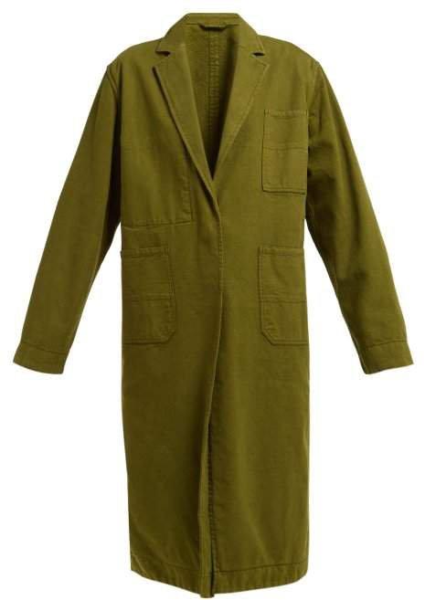 Longline Cotton Oxford Coat - Womens - Khaki