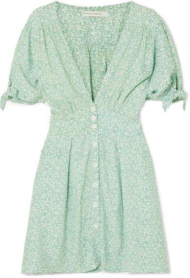 Marianne Floral-print Crepe De Chine Mini Dress - Mint