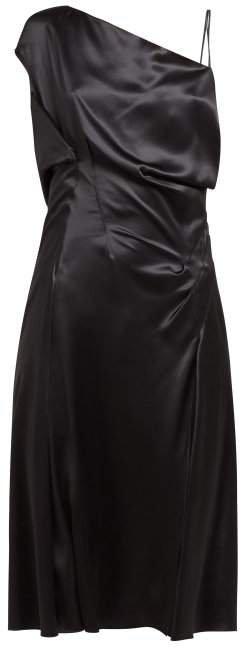 Asymmetric Silk Satin Slip Dress - Womens - Black