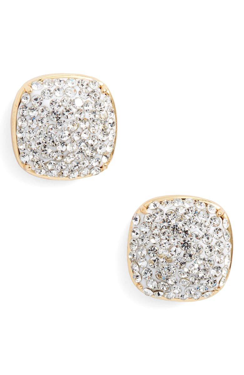 kate spade new york pavé small square stud earrings | Nordstrom