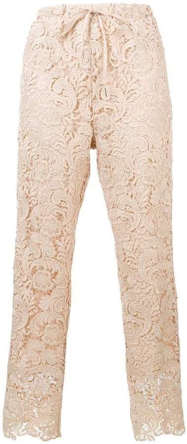 floral crochet trousers