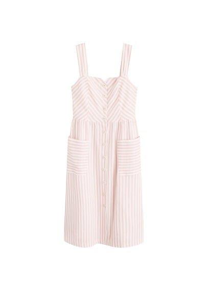 MANGO Striped linen dress