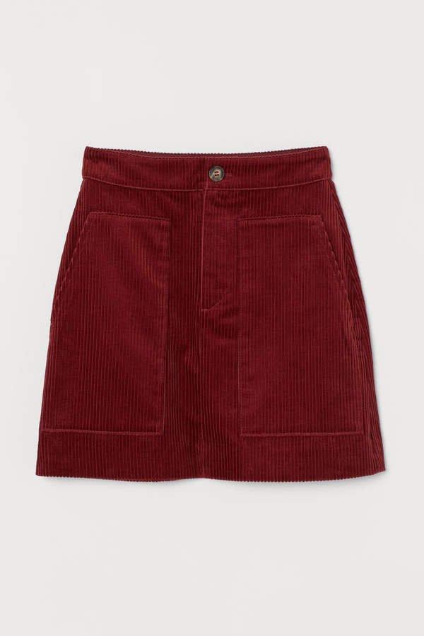 Corduroy Skirt - Red