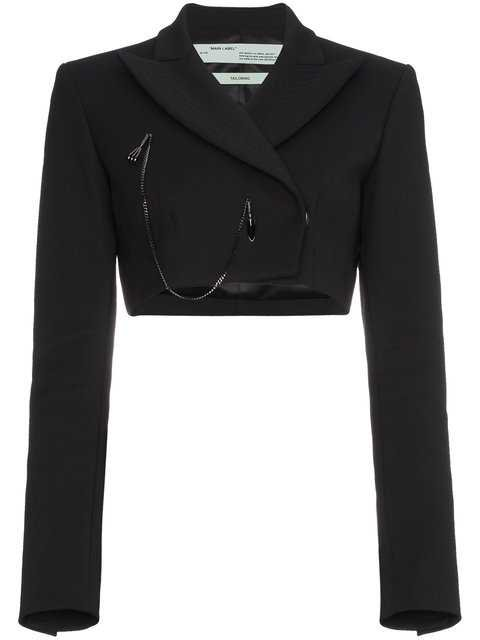 Off-White Cropped Blazer With Chain - Farfetch