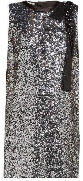 Sequinned Crepe Mini Dress - Womens - Silver