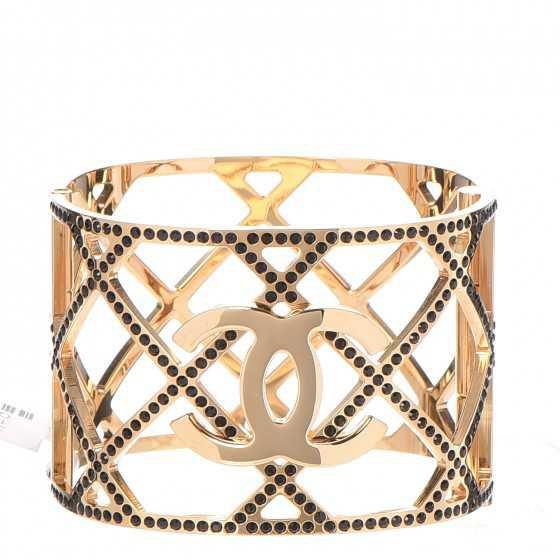 CHANEL Crystal CC Cuff Bracelet Black Gold 266842