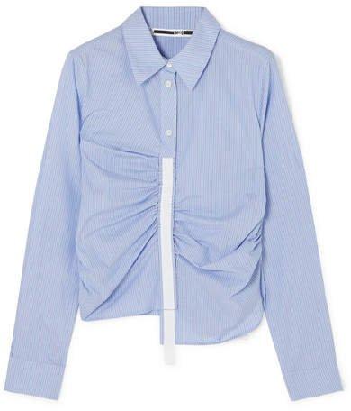 Asymmetric Grosgrain-trimmed Ruched Striped Cotton-poplin Shirt - Blue