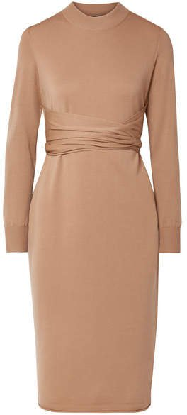 Belted Stretch Wool-blend Dress - Beige