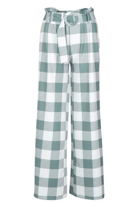 Large Scale Gingham Self Belt Pants | Boohoo