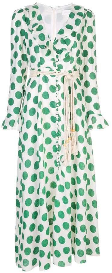 polka-dot rope belted dress