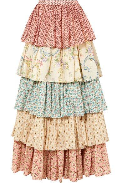Gucci   Tiered printed cotton maxi skirt   NET-A-PORTER.COM