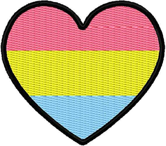 """Amazon.com: Pansexual Pan Pride Flag Heart Iron On Applique Patch - Hot Pink, Yellow, Light Blue, Black - 2.25"""" x 2"""" Heart - MADE IN THE USA - Gift wrap available!: Arts, Crafts & Sewing"""