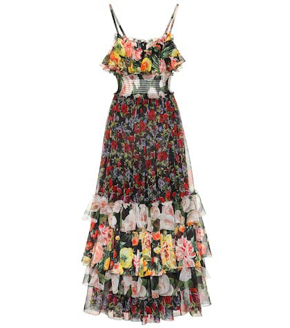 Floral-printed silk chiffon dress