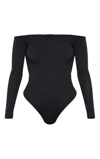 Basic Black Bardot Bodysuit | Bodysuits | PrettyLittleThing