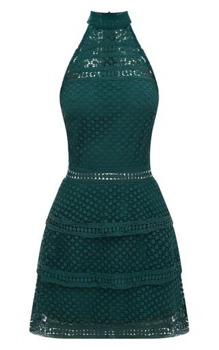 Emerald Green Lace Panel Tiered Bodycon Dress   PrettyLittleThing