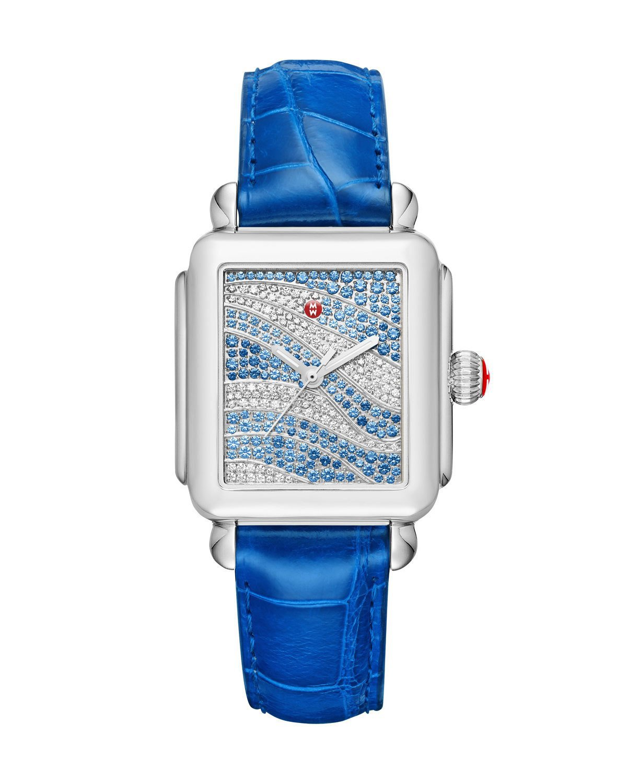 MICHELE Deco 18 Sapphire & Diamond Watch with Blue Alligator Strap