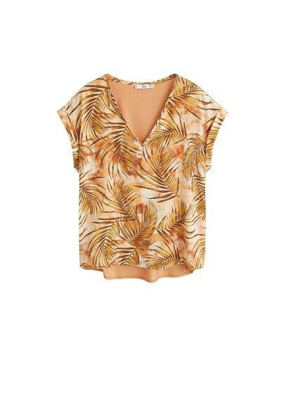 MANGO Satin print blouse