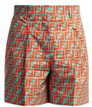 Ff Print Cotton Shorts - Womens - Blue Multi