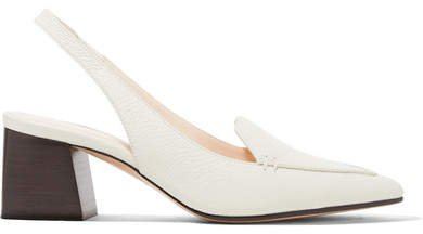 Beya Textured-leather Slingback Pumps - Off-white