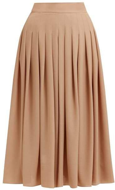 Fred King Pleated Crepe Midi Skirt - Womens - Light Brown