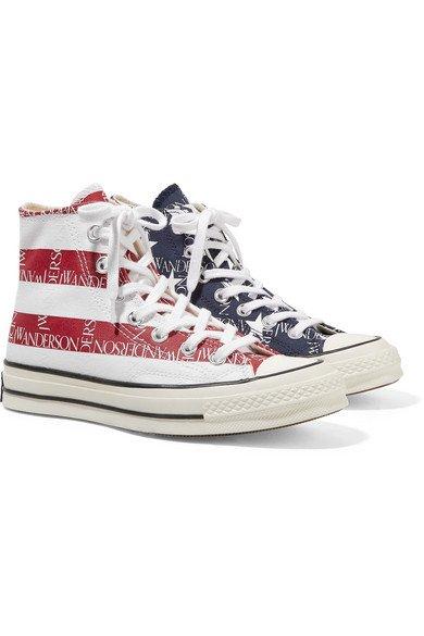 Converse | + JW Anderson Chuck Taylor All Star 70 logo-print canvas high-top sneakers | NET-A-PORTER.COM