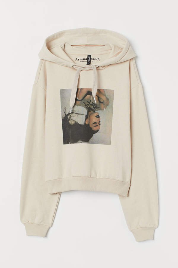 Short Hooded Sweatshirt - Beige