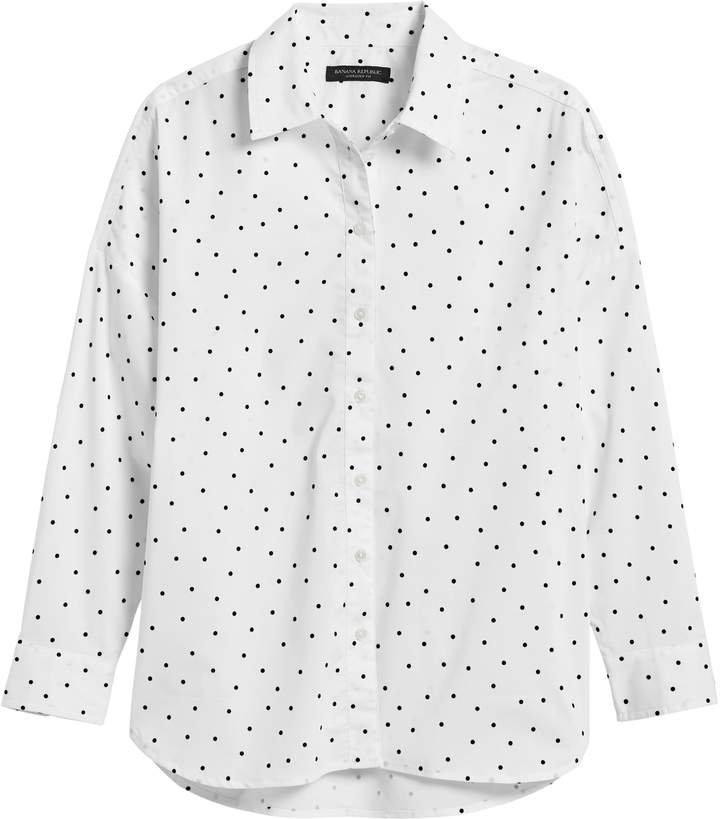 JAPAN EXCLUSIVE Oversized Velvet Dot Poplin Shirt