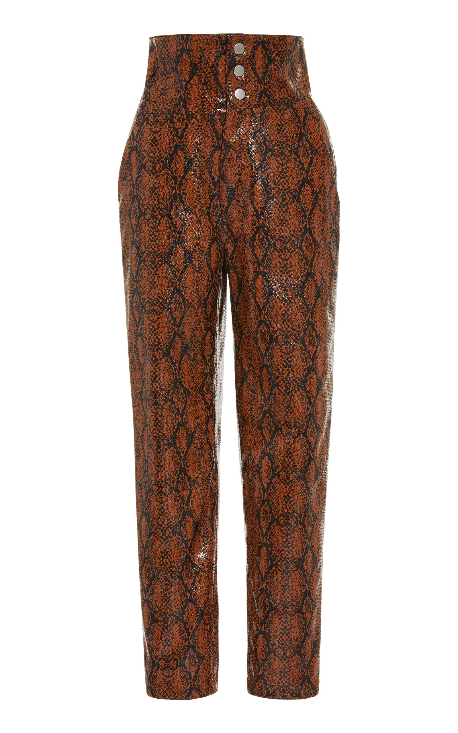 ​​Wino Snake Effect Vegan Leather Trousers by Roseanna | Moda Operandi