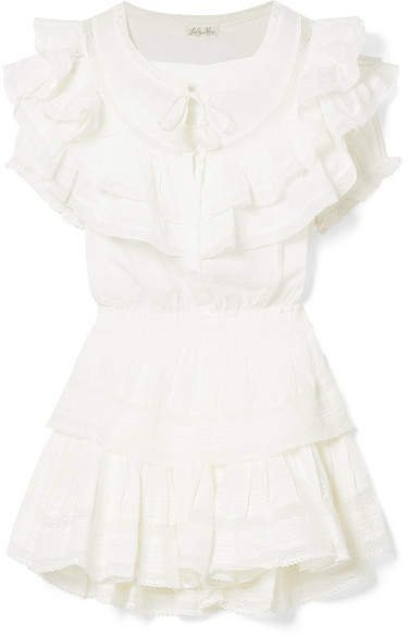 Liv Ruffled Crocheted Lace-trimmed Cotton Mini Dress - White