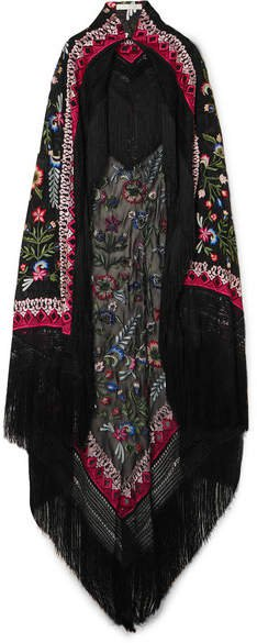 Fringed Embroidered Chiffon Cape - Black