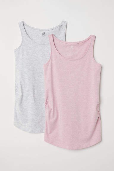 MAMA 2-pack Jersey Tank Tops - Pink