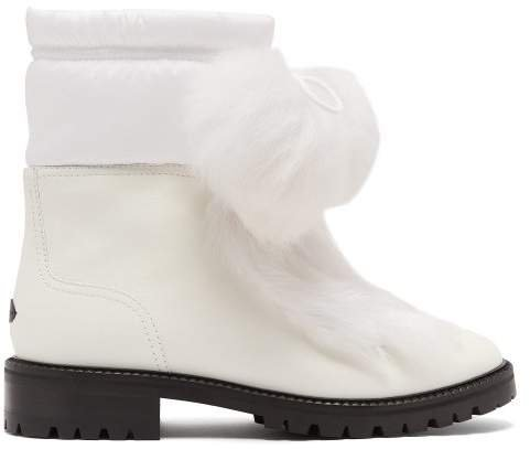 Glacie Pompom Shearling Trimmed Leather Boots - Womens - White