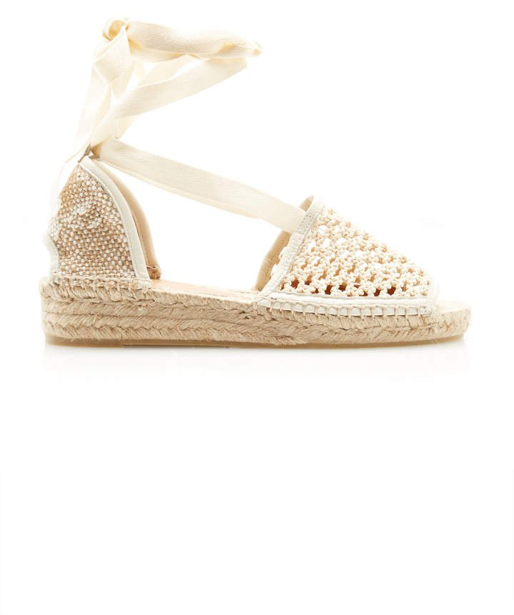 Crochet Lace Up Espadrille Sandals