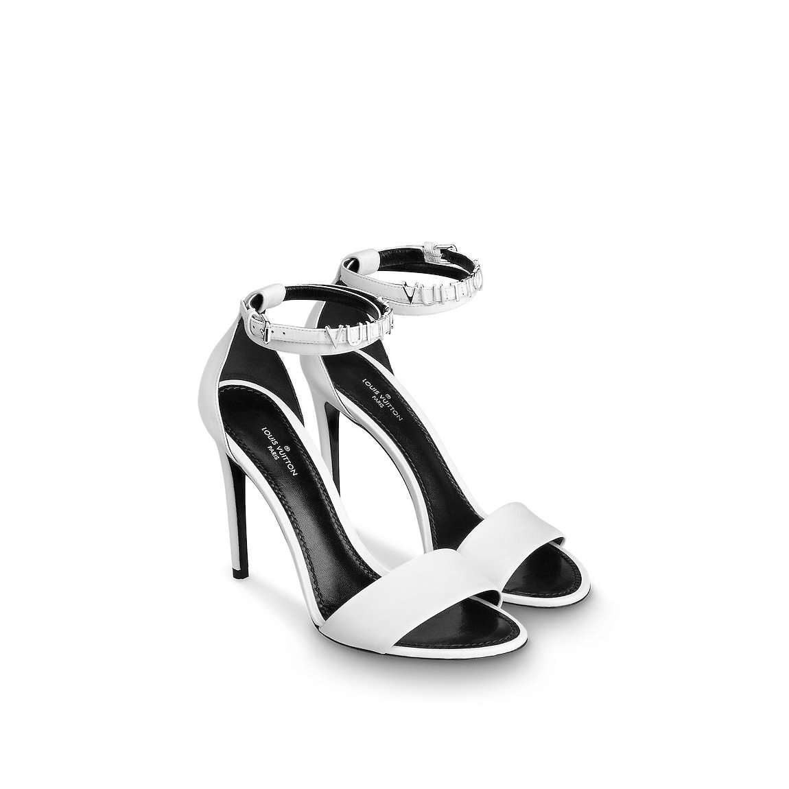LV White ankle strap heels