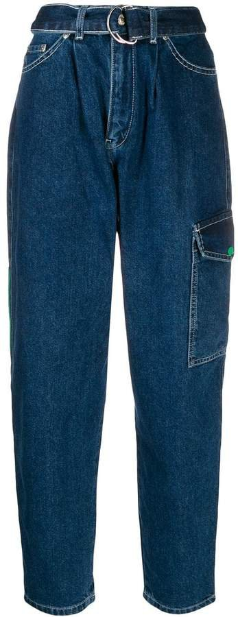 carrot fit belted jeans